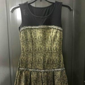 January 7 Black and Gold Mini Dress Size M